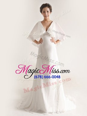 Exceptional With Train Empire Half Sleeves White Bridal Gown Brush Train Zipper