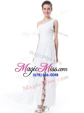 Artistic One Shoulder Sleeveless Chiffon Wedding Gowns Lace Zipper