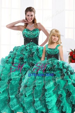 Suitable Floor Length Ball Gowns Sleeveless Turquoise Ball Gown Prom Dress Lace Up