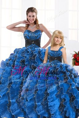 Lovely Royal Blue Sweetheart Neckline Beading and Appliques and Ruffles 15 Quinceanera Dress Sleeveless Lace Up