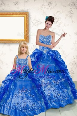Exceptional Royal Blue Sleeveless Floor Length Beading and Embroidery and Pick Ups Lace Up Vestidos de Quinceanera