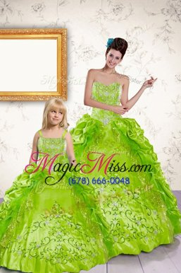 Best Halter Top Yellow Green Taffeta Lace Up 15 Quinceanera Dress Sleeveless Floor Length Beading and Embroidery and Pick Ups