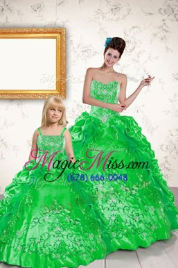 Charming Green Taffeta Lace Up Quinceanera Dress Sleeveless Floor Length Beading and Embroidery and Pick Ups