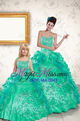 Deluxe Turquoise Sleeveless Floor Length Beading and Embroidery and Pick Ups Lace Up Quinceanera Gowns