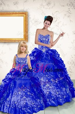 Gorgeous Royal Blue Taffeta Lace Up Strapless Sleeveless Floor Length Quinceanera Gown Beading and Embroidery and Pick Ups