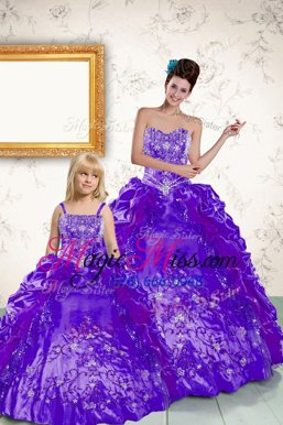 Best Selling Purple Sleeveless Beading and Embroidery and Pick Ups Floor Length Sweet 16 Quinceanera Dress