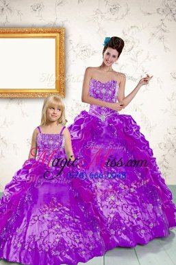 Floor Length Lace Up Quinceanera Gown Purple and In for Military Ball and Sweet 16 and Quinceanera with Beading and Embroidery and Pick Ups