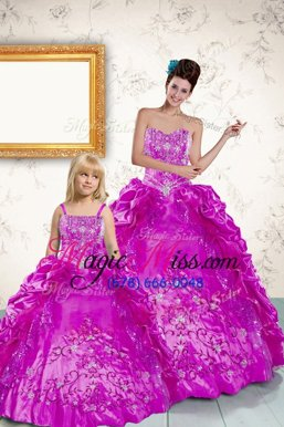 Attractive Sleeveless Floor Length Beading and Embroidery and Pick Ups Lace Up Quince Ball Gowns with Purple