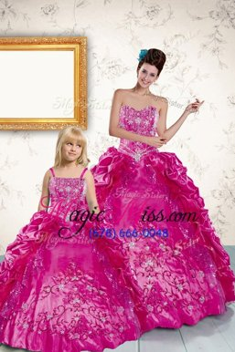 Affordable Floor Length Lace Up Quinceanera Gowns Fuchsia and In for Military Ball and Sweet 16 and Quinceanera with Beading and Appliques and Pick Ups