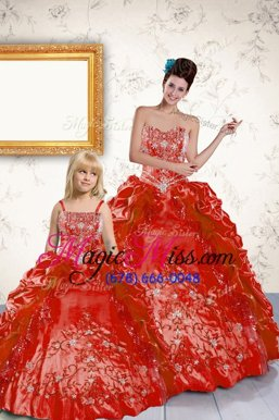Low Price Pick Ups Ball Gowns Vestidos de Quinceanera Coral Red Strapless Taffeta Sleeveless Floor Length Lace Up