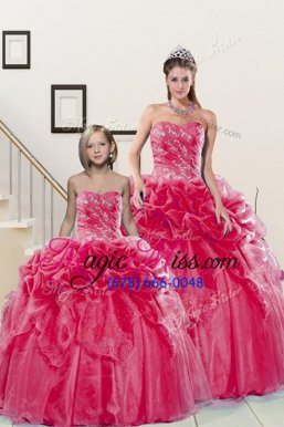 Amazing Coral Red Organza Lace Up 15th Birthday Dress Sleeveless Floor Length Beading and Pick Ups