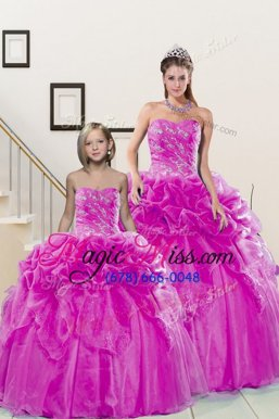 Sumptuous Sleeveless Organza Floor Length Lace Up 15 Quinceanera Dress in Fuchsia for with Beading and Pick Ups