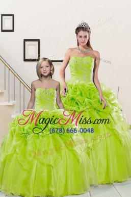 Yellow Green Sweetheart Neckline Beading and Pick Ups Quinceanera Gowns Sleeveless Lace Up