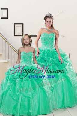 Noble Floor Length Turquoise Quinceanera Gown Organza Sleeveless Beading and Pick Ups