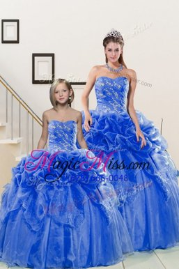 Fashion Blue Ball Gowns Organza Sweetheart Sleeveless Beading and Pick Ups Floor Length Lace Up Vestidos de Quinceanera