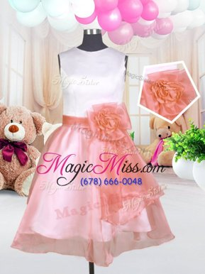 Traditional Scoop Baby Pink Sleeveless Hand Made Flower Knee Length Flower Girl Dresses for Less