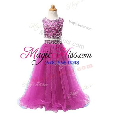 Romantic Scoop Fuchsia Zipper Flower Girl Dresses for Less Beading Sleeveless Floor Length