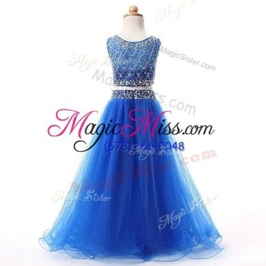 Chic Scoop Blue Sleeveless Beading Floor Length Flower Girl Dresses for Less