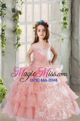Best Baby Pink Lace Up Square Lace and Ruffled Layers Child Pageant Dress Organza Sleeveless