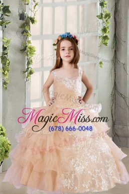 Perfect Floor Length Zipper Child Pageant Dress Champagne and In for Party and Wedding Party with Lace and Ruffled Layers