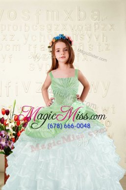 Apple Green Organza Lace Up Pageant Gowns For Girls Sleeveless Floor Length Beading and Ruffled Layers and Hand Made Flower