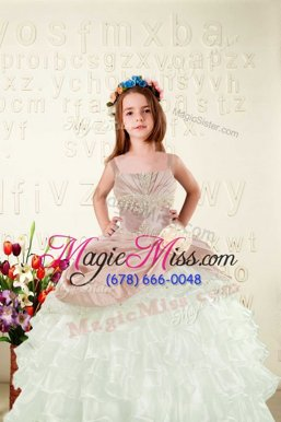 Amazing Sleeveless Organza Floor Length Lace Up Little Girls Pageant Dress in Peach for with Beading and Ruffled Layers and Hand Made Flower