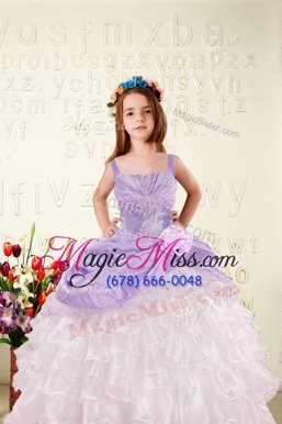 Eye-catching Sleeveless Floor Length Beading and Ruffled Layers and Hand Made Flower Lace Up Little Girl Pageant Gowns with Lilac
