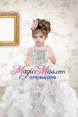 Nice Grey Ball Gowns Organza Spaghetti Straps Sleeveless Beading and Ruffles and Sequins Floor Length Lace Up Little Girls Pageant Dress Wholesale