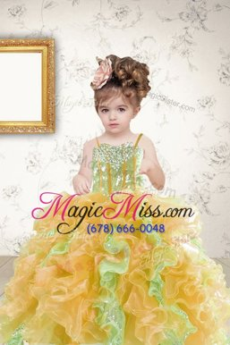 Stylish Multi-color Spaghetti Straps Lace Up Beading and Ruffles and Sequins Little Girls Pageant Dress Wholesale Sleeveless