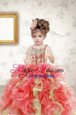 Multi-color Lace Up Spaghetti Straps Beading and Ruffles and Sequins Little Girls Pageant Gowns Organza Sleeveless