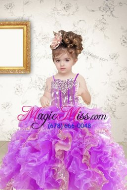 High Class Multi-color Spaghetti Straps Lace Up Beading and Ruffles and Sequins Pageant Gowns For Girls Sleeveless