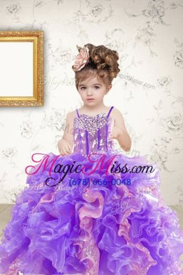 Admirable Multi-color Organza Lace Up Spaghetti Straps Sleeveless Floor Length Little Girl Pageant Dress Beading and Ruffles and Sequins