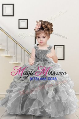 Floor Length Ball Gowns Sleeveless Grey Girls Pageant Dresses Lace Up