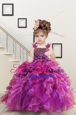 Unique Mermaid Fuchsia Organza Lace Up Straps Sleeveless Floor Length Kids Pageant Dress Beading and Ruffles