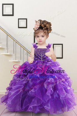 Straps Sleeveless Little Girl Pageant Gowns Floor Length Beading and Ruffles Purple Organza