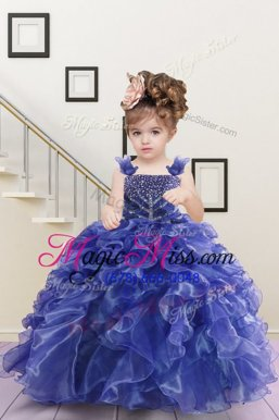 Fashion Straps Sleeveless Lace Up Kids Pageant Dress Navy Blue Organza