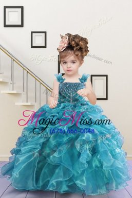 Custom Made Turquoise Lace Up Child Pageant Dress Beading and Ruffles Sleeveless Floor Length