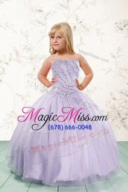 High End Lavender Sleeveless Tulle Lace Up Kids Pageant Dress for Party and Wedding Party
