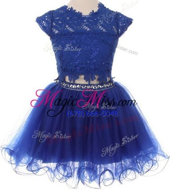 Fancy Scoop Navy Blue Cap Sleeves Mini Length Beading and Lace Zipper Flower Girl Dresses for Less