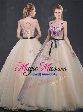 Flirting Scoop Champagne Sleeveless Appliques Floor Length Vestidos de Quinceanera