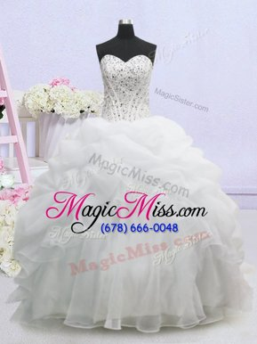 Shining Pick Ups Ball Gowns Sleeveless White Wedding Gowns Brush Train Lace Up