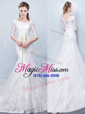Mermaid With Train White Wedding Gowns Scoop Half Sleeves Court Train Lace Up