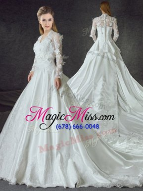 Classical White Zipper Wedding Gowns Lace and Appliques Long Sleeves With Train Chapel Train