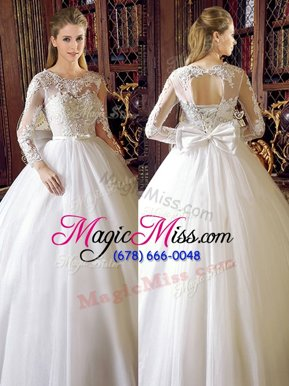 Customized Floor Length White Bridal Gown Scoop Long Sleeves Lace Up