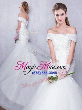 Ideal Mermaid White Tulle Lace Up Off The Shoulder Sleeveless With Train Bridal Gown Court Train Lace and Hand Made Flower