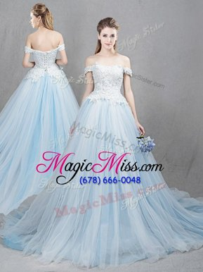 Fashion Off the Shoulder With Train Light Blue Wedding Gowns Tulle Chapel Train Sleeveless Appliques