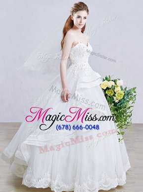Stylish White Tulle Lace Up Bridal Gown Sleeveless Floor Length Appliques