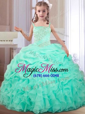 Glorious Straps Straps Sleeveless Floor Length Beading and Ruffles and Pick Ups Lace Up Child Pageant Dress with Apple Green