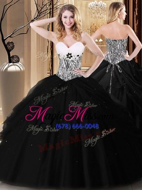 Black Lace Up 15th Birthday Dress Pick Ups and Pattern Sleeveless Floor Length
