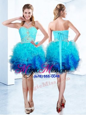 Sophisticated Blue Organza Lace Up Homecoming Dress Sleeveless Knee Length Beading and Ruffles and Ruching